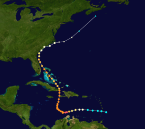 2016 Hurricane Matthew's path